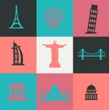 Monument-Ikonen-Satz - Illustration Lizenzfreie Stockfotografie