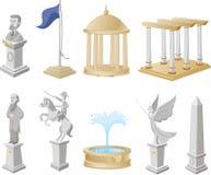 Monument-Ikonen-Symbol-Statuen-Architektur-Tourismus-Sammlung Lizenzfreie Stockfotos