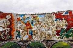 Monument of ilustration of the Shota Rustaveli poem  The Knight. MILITARY ROAD OF GEORGIA, GEORGIA - JULY 22, 2014: Monument of ilustration of the Shota Royalty Free Stock Image