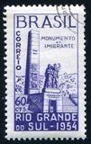 Monument of the Immigrants. BRAZIL - CIRCA 1954: stamp printed by Brazil, shows Monument of the Immigrants, circa 1954 royalty free stock image