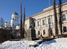 Monument J.V.Snellman before the building of bank of Finland. Helsinki.  Stock Photos