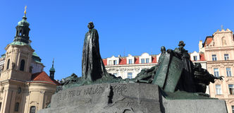 Monument of Jan Hus on the Oldtown Square in Prague Royalty Free Stock Image