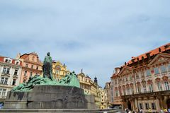 Monument of Jan Hus in Prague. And houses Stock Photography