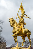 Monument Jeanne D'Arc in Philadelphia, made of golden metal royalty free stock photo