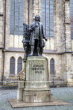 Monument for Johann Sebastian Bach in front of the Thomas Church (Thomaskirche). Royalty Free Stock Image