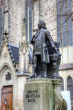 Monument for Johann Sebastian Bach in front of the Thomas Church (Thomaskirche). Royalty Free Stock Photo