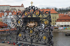 The monument of John of Nepomuk at Charles Bridge Stock Images