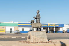 Monument for karakul sheep in Keetmanshoop. KEETMANSHOOP, NAMIBIA - JUNE 13, 2017: A monument commemorating the arrival of the first karakul sheep in 1907 Stock Photography