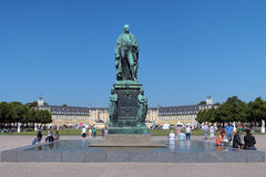 Monument of Karl Friedrich von Baden in Karlsruhe. Monument of Karl Friedrich von Baden in front of the Karlsruhe Palace, Germany Stock Image