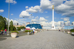The monument Kazakh Eli in Astana city. Stock Photos