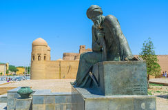 The monument in Khiva. KHIVA, UZBEKISTAN - MAY 4, 2015: The monument to the ancient scientist - mathematician, astronomer and geographer Muhammad ibn Musa al stock photo