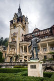 Monument of king Carlo next to Pelesh Castle in Romania Royalty Free Stock Photo