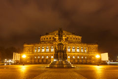 Monument of King Johann and Dresden Opera Theatre at night Stock Photography