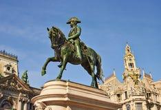 Monument of the king Pedro IV, Porto, Portugal stock image