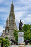 The monument of King Rama II and main pagoda Stock Image