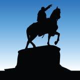 Monument of Knez Mihailo black silhouette Royalty Free Stock Photo