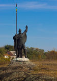 A monument of a knight made by unknown author, standing on the island on the river Ros. This is a landmark and protector of the ci Royalty Free Stock Image