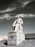 Monument Konstantin Tsiolkovsky. Infra-red photo. RUSSIA, MOSCOW - May 28,2014: Sculpture of well-known founder of theoretical cosmonautics  Konstantin Royalty Free Stock Image