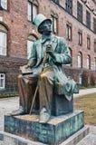 Monument in Kopenhagen voor Hans Stock Afbeeldingen