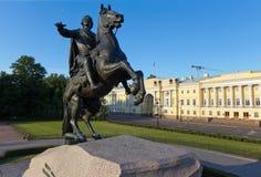 Monument le cavalier en bronze à St Petersburg images libres de droits