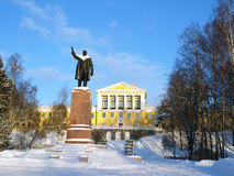 Monument for Lenin with luxury school background Stock Photos