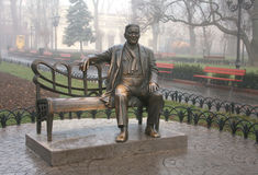 Monument Leonid Utyosov in Municipal gardens Stock Photos
