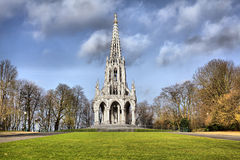 The monument Leopold I in Laeken park. The monument Leopold I in the neo-Gothic style in Laeken park, Brussels, Belgium Stock Image