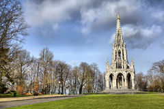The monument Leopold I in Laeken park. The monument Leopold I in the neo-Gothic style in Laeken park, Brussels, Belgium Royalty Free Stock Image