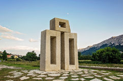 Monument of letter L from Glagolitic alphabet in Jurandvor near Baska, Island Krk Croatia. Letter L of the Glagolitic alphabet also known as Glagolitsa, the stock photo