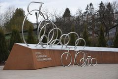 Monument letton de tour d'unité de cyclistes, Sigulda, Lettonie photo libre de droits