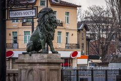 Monument of lion in the capital of Bulgaria, Sofia. An important symbol of the historic state of the former socialist bloc. The Bulgarian Presidency of the Stock Images