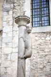 Monument of the Lioness, symbol of the City of Girona, Catalonia, Spain stock photography
