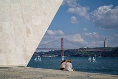 Monument in Lisbon stock image