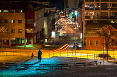A monument and little park in Tromso, Norway at night Stock Photo