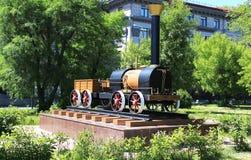 Monument locomotive. Revolution Square. Krasnoyarsk Stock Photos