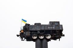 Monument locomotive in Shepetovka Royalty Free Stock Photo
