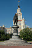 Monument of Lomonossov. Moscow State University Stock Photo