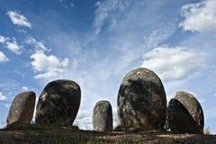Monument mégalithique d'Almendres, Evora Photos stock