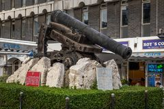 Monument made of old cannon located at Grand Casemates Square . GIBRALTAR - DECEMBER 2017: monument made of old cannon located at Grand Casemates Square Stock Photo