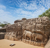 Monument at Mahabalipuram, Tamil Nadu. Descent of the Ganges and Arjuna's Penance ancient stone sculpture - monument at Mahabalipuram, Tamil Nadu, India Royalty Free Stock Image