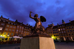 Monument in the main square rynek in Warsaw. Poland Stock Photos