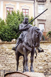 Monument of man with horse on central city square of Zagreb. Stock Images