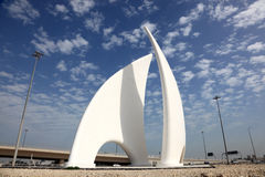 Monument in Manama, Bahrain. Roundabout monument in Manama, Bahrain, Middle East royalty free stock photos