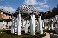 Monument marking President Izetbegovic grave at Martyrs Cemetery Kovaci Sarajevo Bosnia Royalty Free Stock Images