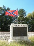 The Great Locomotive Chase 1862. This monument marks the spot where `The General` stopped. It was hijacked in Kennesaw, Georgia by Andrews` Raiders while the royalty free stock images