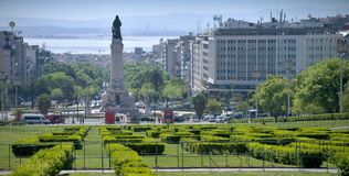 Monument on the Marques de Pombal square. View of Eduardo VII park and Marques de Pombal square, Lisbon, Portugal Royalty Free Stock Photography