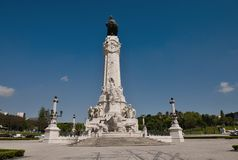 Monument on the Marques de Pombal square. View of Eduardo VII park and Marques de Pombal square, Lisbon, Portugal Royalty Free Stock Images