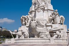 Monument on the Marques de Pombal square. View of Eduardo VII park and Marques de Pombal square, Lisbon, Portugal Royalty Free Stock Photos