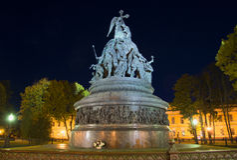 At the monument Millennium of Russia autumn night. Veliky Novgorod Royalty Free Stock Photo
