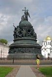 Monument Millennium of Russia. Girl photographed monument Millennium of Russia in Novgorod Stock Images